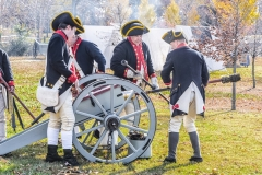 Continental Army Artillerymen Reenactors firing cannon, Fort Mercer, Red Bank, New Jersey
